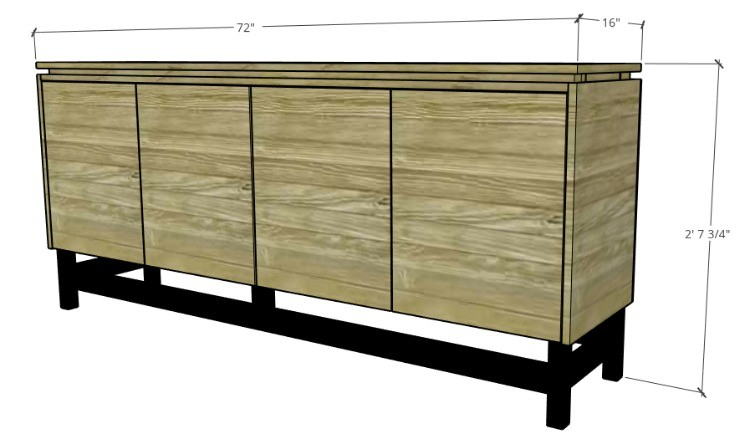 Overall DIY modern console cabinet dimensions