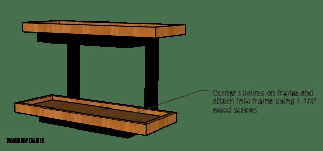 Attach shelf trays to wall shelf frame with wood screws diagram