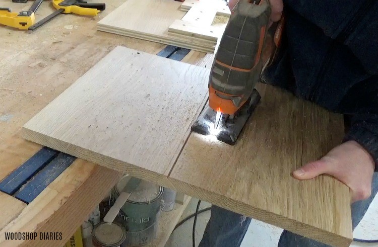 Cut notches into front door of DIY dresser console
