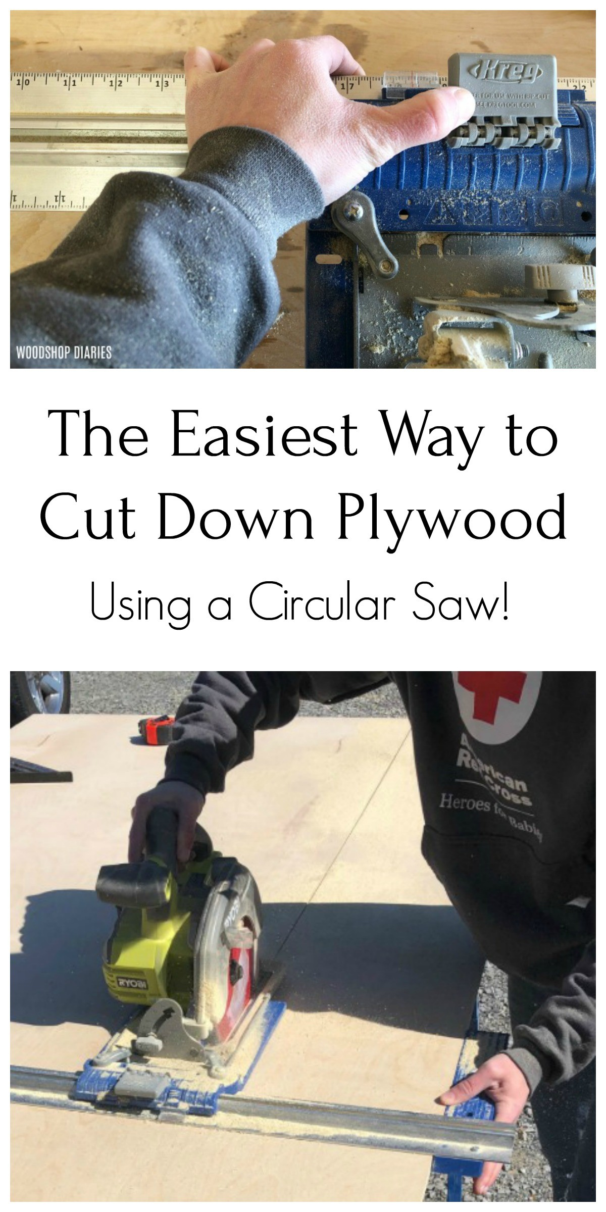 How to easily cut down a full sheet of plywood using a circular saw and a couple of cutting guides