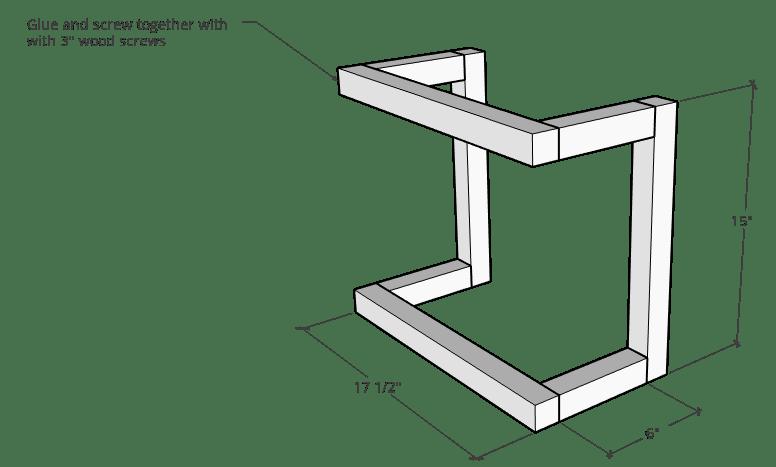 DIY wall shelf frame diagram