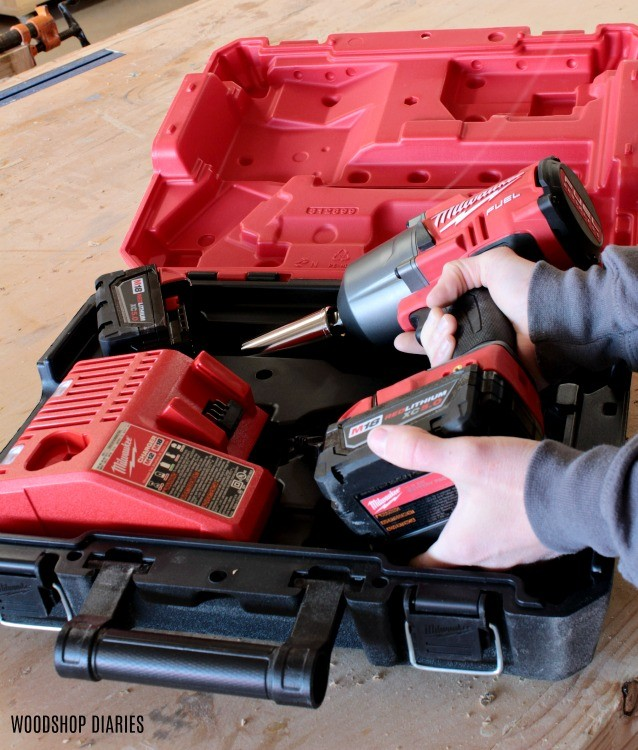 Milwaukee impact wrench comes with two batteries, charger, and hard case