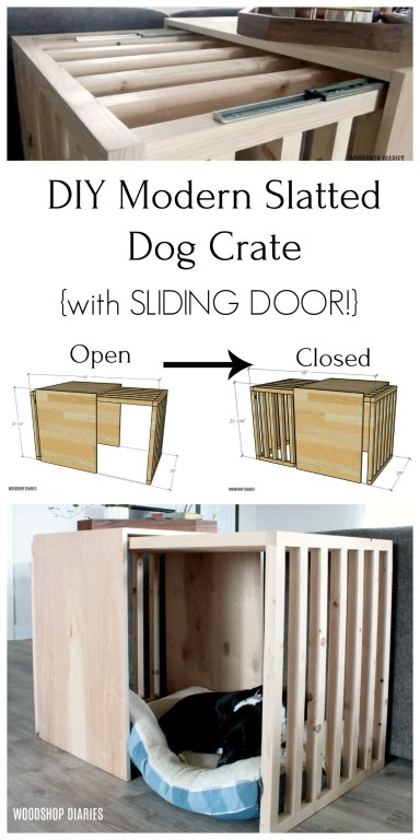 Slatted dog crate with sliding door pinterest collage image