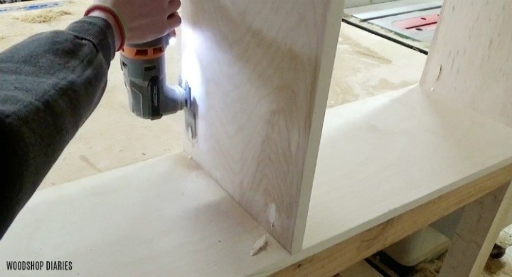 Flush cut pocket hole plugs in plywood bookshelf