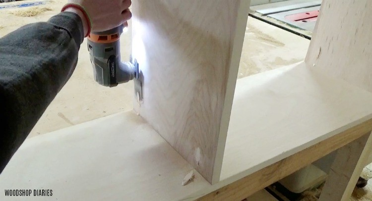 Flush cut pocket hole plugs in plywood bookshelf