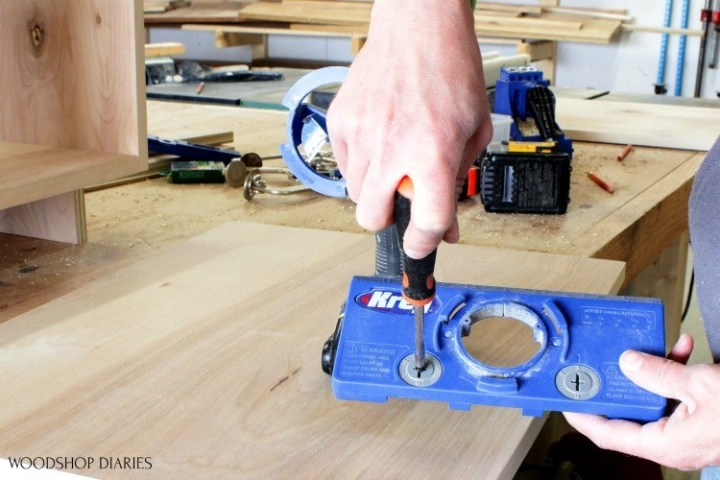 Adjust hinge jig distance from door edge--handy tools for cabinet making