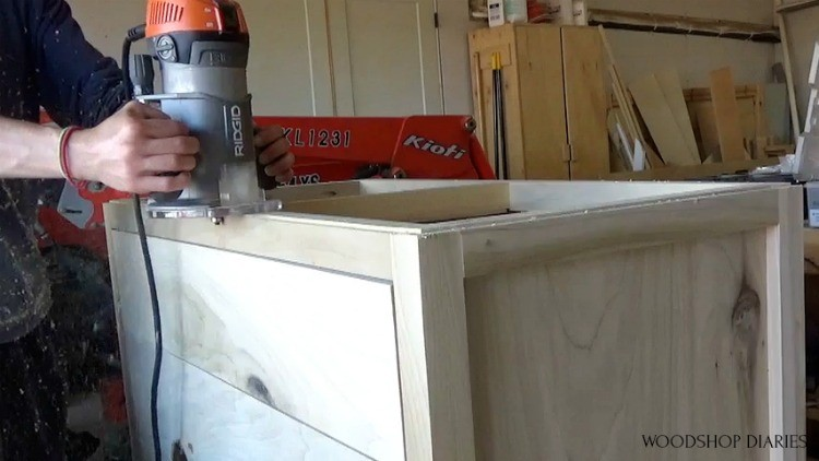 """Using rabbeting bit in router to add small """"floating"""" detail to top of dresser frame"""