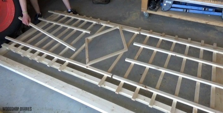 Laying out trellis design on shop floor