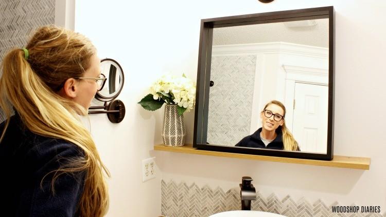 Shara Woodshop Diaries in black framed floating shelf mirror