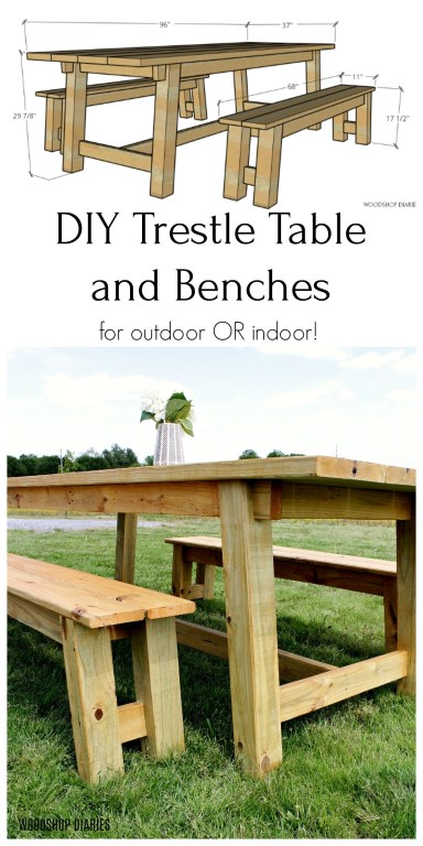 DIY Trestle table and bench 3D diagram and close up pinterest graphic collage