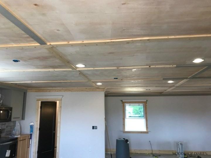Trim installed on ceiling seams