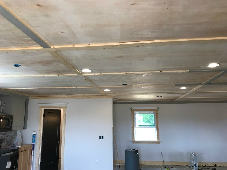 Trim installed on ceiling seams