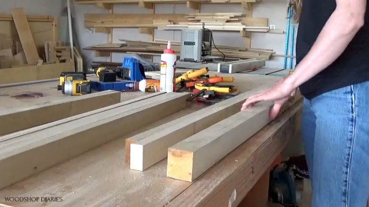 2x2s glued up and squared off ready to assemble 5 drawer dresser frame with