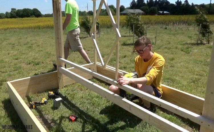 Nailing center diamond design into trellis frame using nail gun