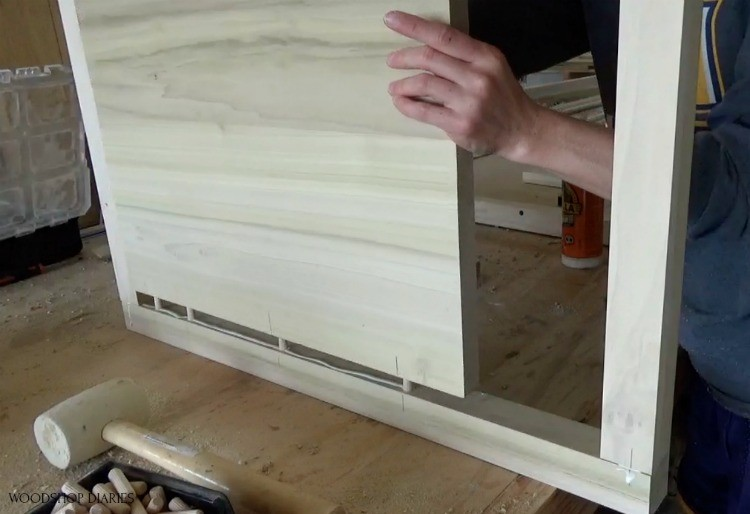 Assemble side panel using dowels and wood glue