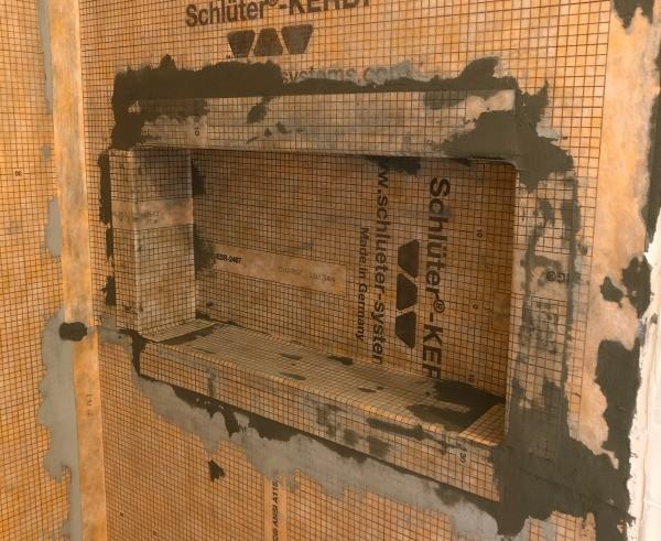 Kerdi membrane installed in shower niche