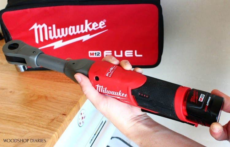 Installing M12 battery into Milwaukee battery powered ratchet