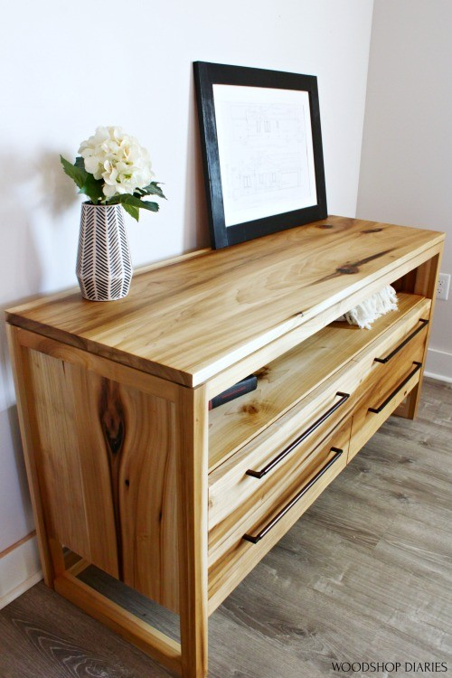 Close up view of DIY modern dresser with 4 drawers made from poplar