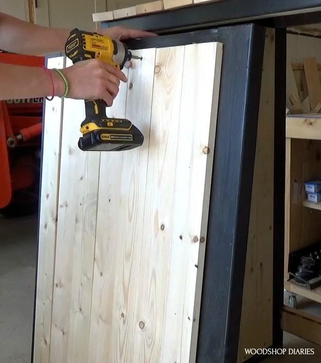 """Installing door slats into door frame with 1 1/4"""" wood screws"""