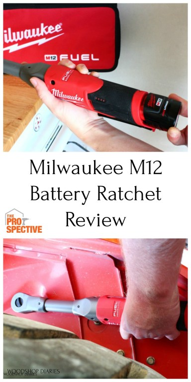 Pintereste collage image of milwaukee ratchet inserting battery and using to tighten bolt on tractor
