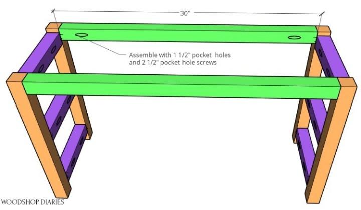 Building diagram shoe bench complete base frame assembled