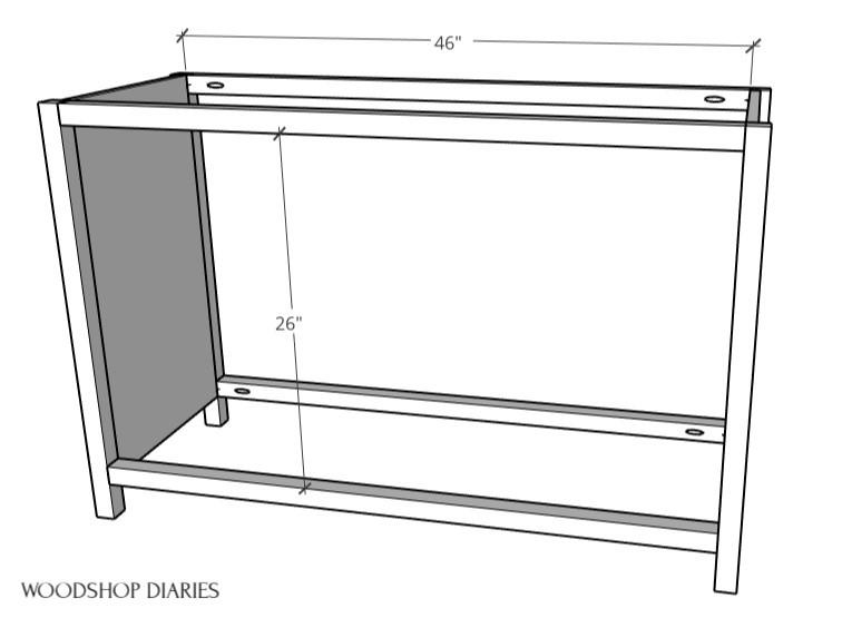6 drawer dresser frame diagram 2x2s between side panels