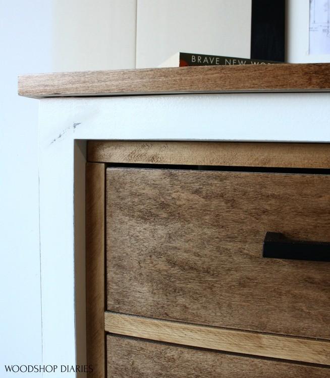 Close up detail of inset drawer frame on 6 drawer dresser