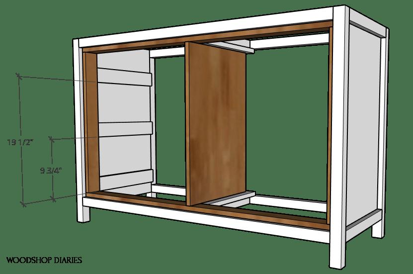 Diagram of scrap blocks for drawer slides on side panel
