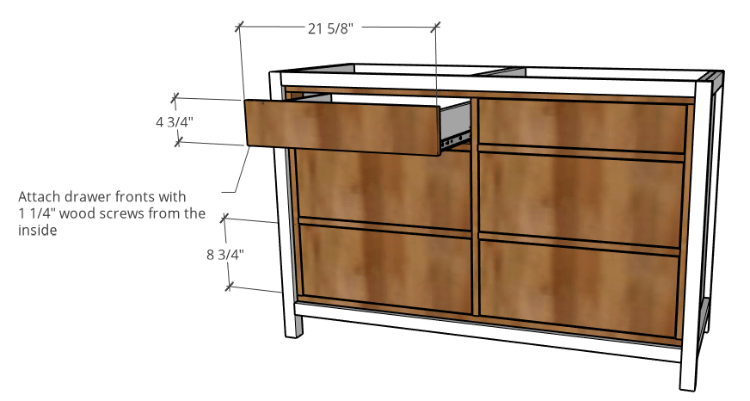 Install plywood drawer fronts onto drawer boxes dimensions diagram