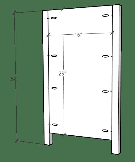 Side panel diagram for 6 drawer dresser