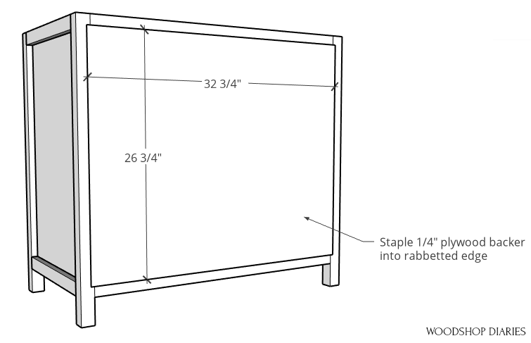 "Staple 1/4"" plywood panel onto back of pocket door cabinet frame"