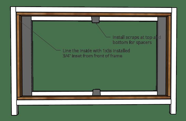 Diagram of frame trim detail on 6 drawer dresser