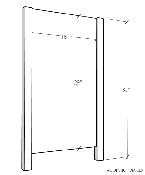 Side panel diagram of pocket door cabinet assembly