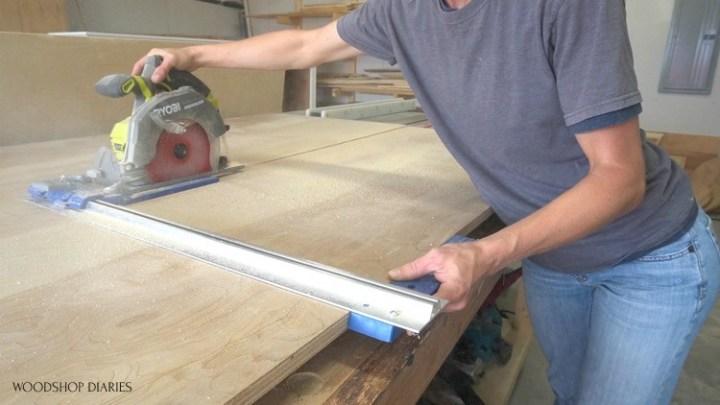 Shara cutting down plywood sheets