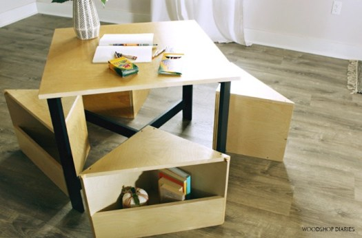 DIY Kid's nesting table with storage seats makes an excellent handmade Christmas gift idea