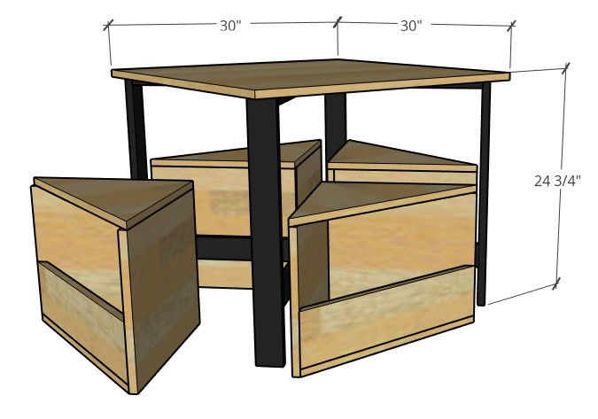 Overall dimension diagram of kids nesting table with four seats