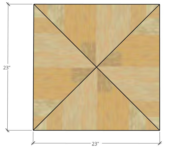 """23"""" square plywood cut diagram for seat tops"""