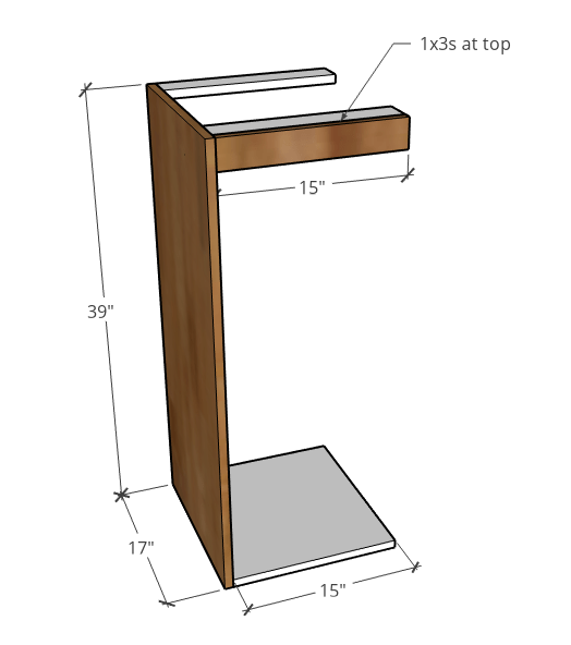 Diagram of side cabinet dimensions