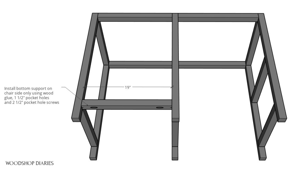 Install 2x2 frame pieces on chair side of desk frame
