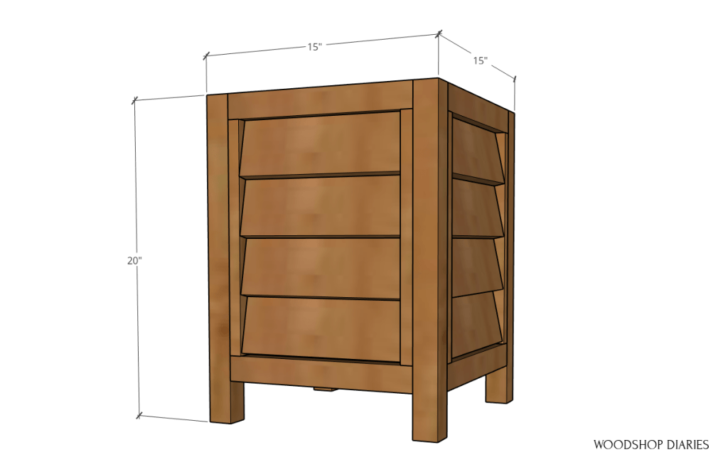 Overall louvered planter box dimension diagram