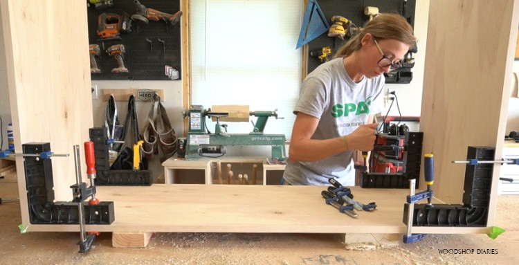 Securing glue up with corner clamps