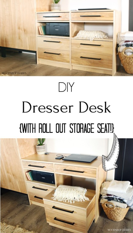 Pinterest collage image showing dresser at top and desk seat pulled out on bottom