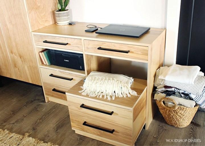 DIY dresser desk with rolling storage cart pulled out