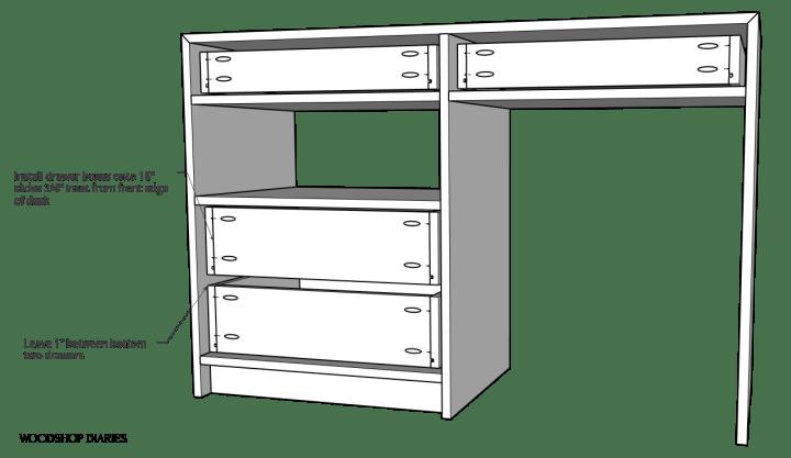 Diagram of drawers installed into dresser desk