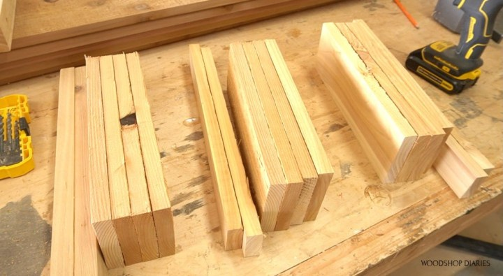 Sets of boards trimmed to length for louvered panels