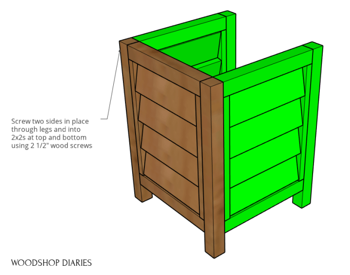 Three sides assembled of louvered planter box