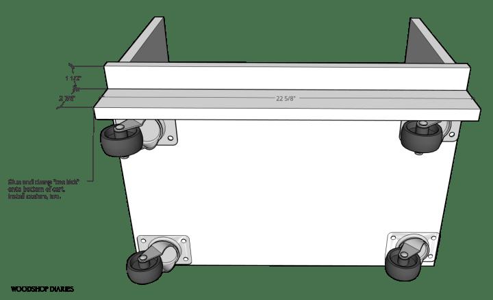 Diagram of toe kick piece installed onto bottom of desk storage seat