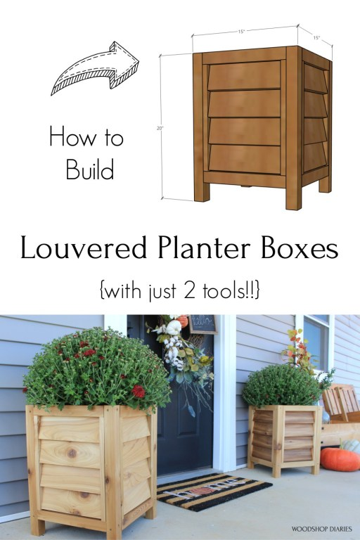 Pinterest diagram collage of overall louvered planter box dimensions and final picture of them completed