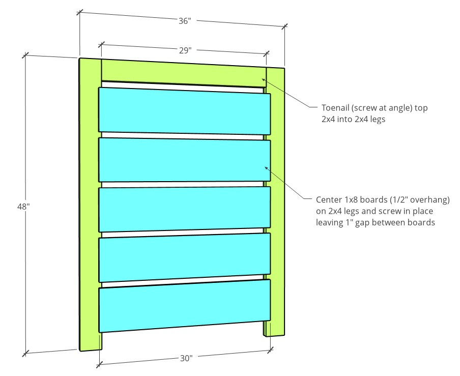 Short fence side dimensions in 3D diagram