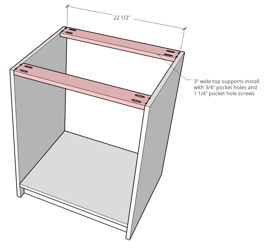 Top supports attached on modular cabinet diagram